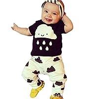 Smile YKK Sommer Kind Neugeborene Junge Mädchen Playsuit Kleidung Set Outfit Babykleidung Shirt+Hosen 90 Schwarzweiß