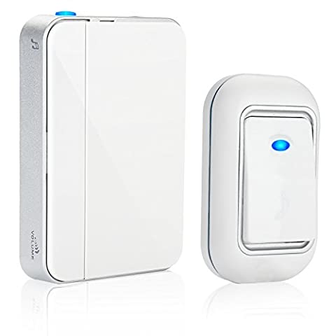 Wireless Doorbell,ISUDA Door Chime Kit,36 Melodies Tunes To Choose, 1000ft / 300m Range,Easy to Install, Elegant White(1 push button + 1 doorbell chime) by ISUDA