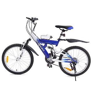 MuGuang Kinder Mountainbike 20 Zoll 6 Vitesses Venez Avec Bouilloire 500cc Pour Les Enfants de 7 à 12 Ans (Blau)