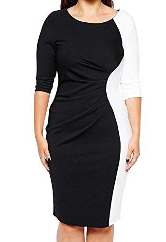 Vestido Corto Para Mujer Elegante Cóctel Vestido De Noche Talla Grande - Negro Blanco - 5XL