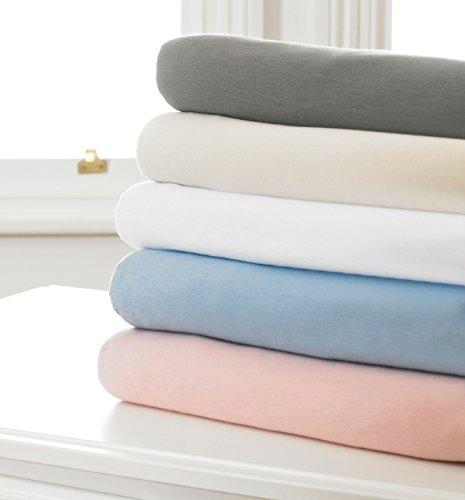 Great Knot Baby Jersey Biber Spannbetttuch Set mit Kopfkissenbezügen, 150 g/m², 100% Baumwolle, elfenbeinfarben, 70 x 140+20cm