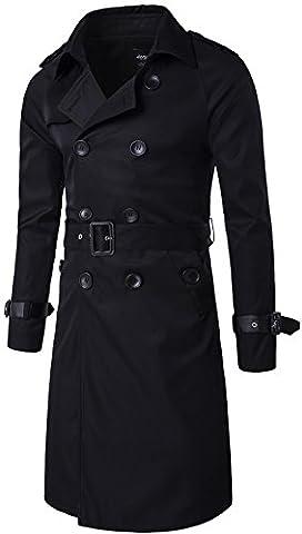 WSAZM Homme Printemps Automne Nouveau Classique Double breasted Long Manteau Windbreaker Slim Toile Trench-Coat Veste militaire avec ceinture blousons (FR Large (Asia Tag 2XL), Noir)