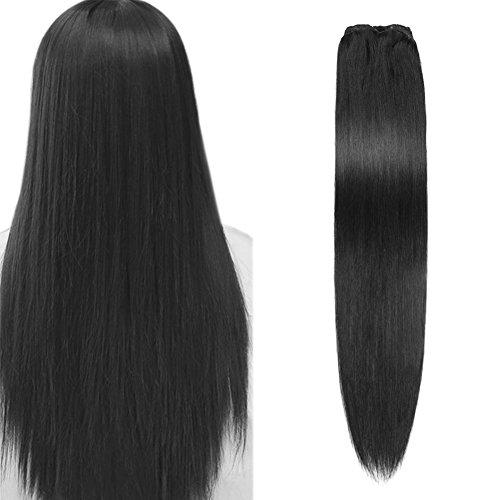 Komfami Remy Haarverlängerung Clip in Haarverlängerung Echthaar Echtes Haar 100 Gramm (40cm, No.1 Tiefschwarz)
