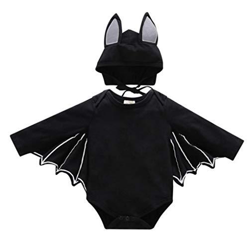 MICHAELA BLAKE Halloween-Kostüme, kreative Mode Baby Halloween Kleidung Nette Schwarze Fledermaus-Umhang für Halloween-Party-90cm (Hat - Süßeste Monster Kostüm