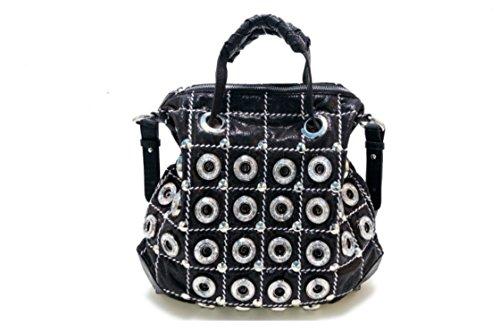 Oath_song ,  Mädchen Damen Tornistertasche , schwarz - schwarz - Größe: Large (Bag Hobo Leder Studded)