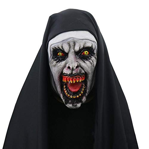 Halloween Town Kostüm - Hamkaw Nonne Maske, Purge Halloween Maske Deluxe Latex Gruselige Nonne Maske The Town Halloween Cosplay Kostüm Kopfbedeckung für Männer Frauen Erwachsene