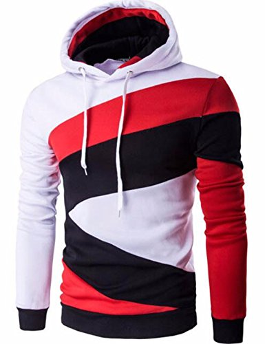 Men's Hombre Hip Hop Color Stitching Slim Fit Hoodie White Red