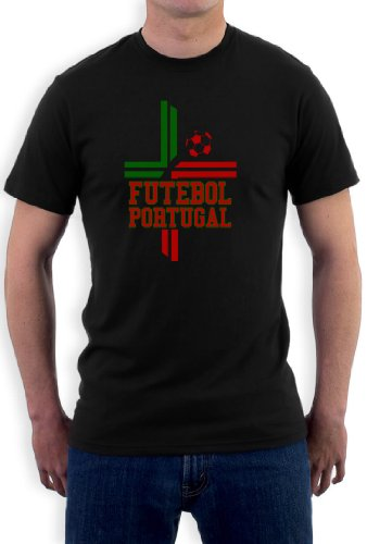 Futebol Portugal-Flagge T-Shirt Schwarz