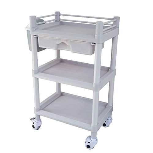 Trolleys 2/3 Regalwagen für medizinische Laborgeräte | ABS Schönheitssalon Hair Spa Nagelwagen mit 1 Schublade und Schmutzkübel | Grau-weiß (größe : 54x37x92cm)