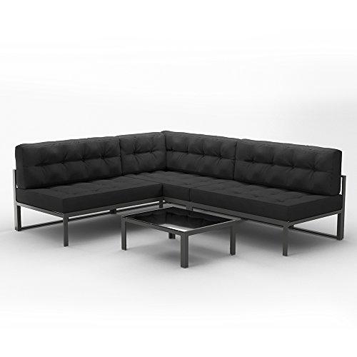 OSKAR Alu Lounge Gartenmöbel Set inkl. Palettenkissen mit Flockenfüllung + Tisch Gartenlounge Sitzgarnitur Sitzgruppe Anthrazit
