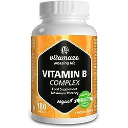 """Vitamina B Complex, altamente concentrada, B1, B2, B3, B5, B6, B7, B9, B12, comprimidos veganos, suficientes para 6 meses, producto de calidad """"made in Germany"""" sin estearato de magnesio"""