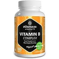 Vitamina B Complex, altamente concentrada, B1, B2, B3, B5, B6, B7, B9, B12, comprimidos veganos, suficientes para.