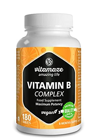 Vitamin B-Complex high strength B1, B2, B3, B5, B6, B7, B9, B12 vegan 6 month supply, Premium Quality Product without magnesium stearate, 1 pack (1 x 36 g)