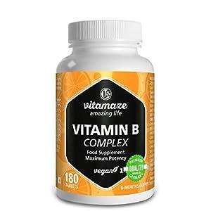 Vitamaze® Vitamina B Complex Alto Dosaggio, 180 Compresse Vegan 6 Mesi di Assunzione, B1, B2, B3, B5, B6, B7, B9, B12… 1 spesavip