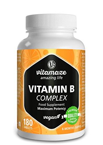 Vitamaze Vitamina B Complex con 180 tabletas veganas de dosis alta del para 6 meses de...