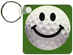 3dRose Smiley Face Golf Ball Happy White Golfball Golfer Gift Smile On Dark Green Background Key Chains, Set of 2 (kc_76670_1)