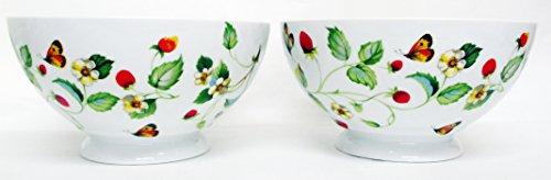 Fraises et papillons Lot de 2 grands bols ronds bols sur pied décorée à la main au Royaume-Uni