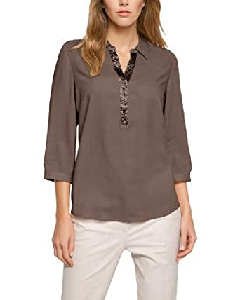 Comma Damen Regular Fit Bluse 81.404.19.5792, Gr. 44, Grau (taupe)