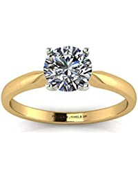 Precious Jewels UK - DIAMOND Solitaire Engagement Ring D SI 0.40ct 18ct Yellow Gold - Cert By AGI