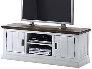 Robas Lund aw800t12Gomera TV Élément en bois massif d'Acacia/Basalte Marron Blanc laqué, 2portes/compartiments, Env. 155x 60x 55cm