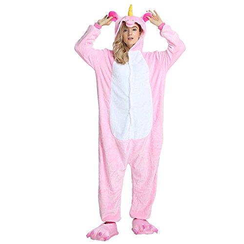 Rainbow Fox Einhorn Pyjama Erwachsene Unisex Cosplay Kostüm Tier Nachtwäsche Flanell Neuheit Halloween Weihnachten Kleider (S, Rosa)