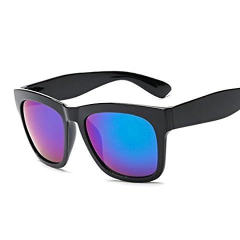 Xiahbong Rechteck Vollrand Vintage Gespiegelt Sonnenbrille Draussen Sport Brille (D)