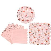 Amosfun Suministros de Fiesta de cumpleaños Flamingo Juego de vajilla Servilleta de Papel Platos Redondos y