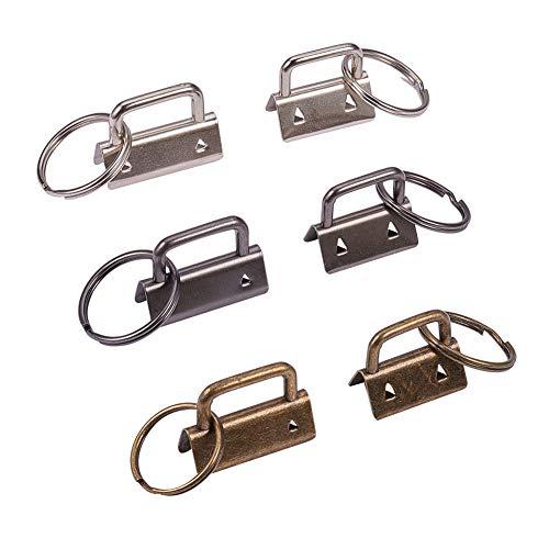 PandaHall 24pcs 0.86inch 1.25inch Key Fob Hardware mit Schlüsselanhänger Ring Wristlet Hardware Assortment Kit für Lanyard Ribbon Fabric Hand Craft (Fob-lanyard)