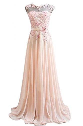Edaier Damen Lange Chiffon Abendkleid Formales Kleid Größe 34 Rosa - Kleider Abend-formale Damen