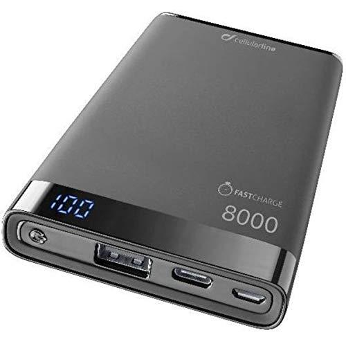 cellularline FreePower Manta S 8000 mAh - Cargador portátil Ultrafino con Puerto USB y USB-C, Color Negro