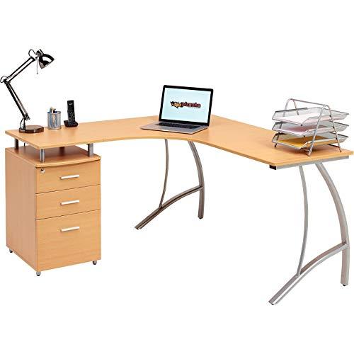Großen Ecke Computer-Schreibtisch mit 3Schubladen und Registratur A4, passende andere Piranha Buche Effekt Home Office Möbel-Regal PC 28B (Ecke Schubladen)