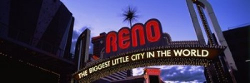 Panoramic Images - Low angle view of the Reno Arch at dusk Virginia Street Reno Nevada USA Photo Print (45,72 x 15,24 cm)