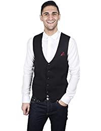 7d6363157220 Marc Darcy Mens Black Designer Waistcoat, Smart Casual Formal Slim Fit Vest  by