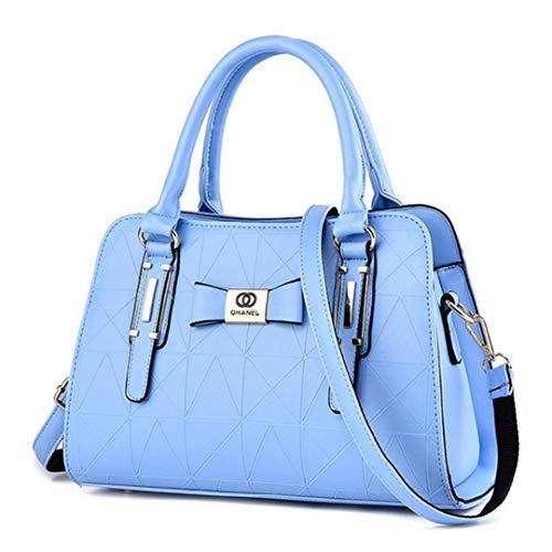 KHUGIU Ankunft Luxus Frauen H Tasche PU Leder Schultertasche Dame Große Kapazität Crossbody H Tasche Light Blue 32CMX13CMX23CM