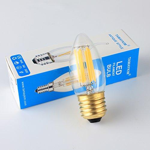 TAMAYKIM C35 6W Dimmbar Glühfaden LED Kerze Lampe, 3000K Warmweiß 600 Lumen, 60W Entspricht Glühlampe, E27 Fassung, Torpedo Form, 360° Abstrahlwinkel, 3er-Pack - 2