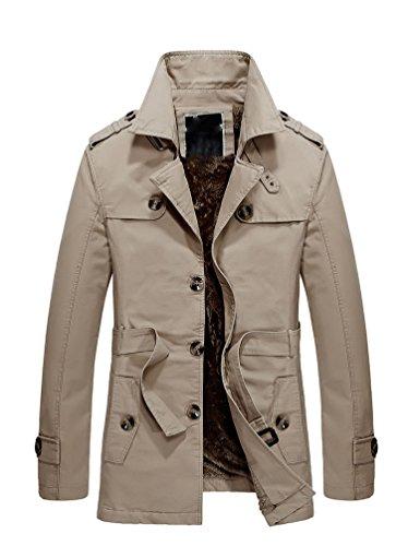 Baymate Herren Langarm Reverskragen Trenchcoat Mantel Einreihig Jacke Warme Outwear mit Guertel Khaki