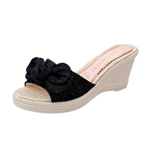 squarex Damen Sommer schleife Plattform Wasserdicht Sandalen Keil Damen Hausschuhe 7 UK/ Foot Length:25-25.5cm schwarz (Damen Einlegesohlen Zubehör)