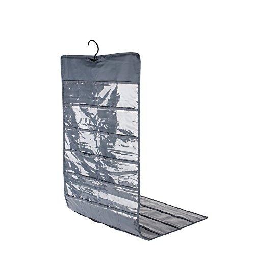 Pocket Schmuck-organizer (taotec Kleiderschrank Schmuck Organizer zum aufhängen 80Taschen doppelseitig Aufbewahrung, dunkelgrau, 2-Sided 80 Pockets)