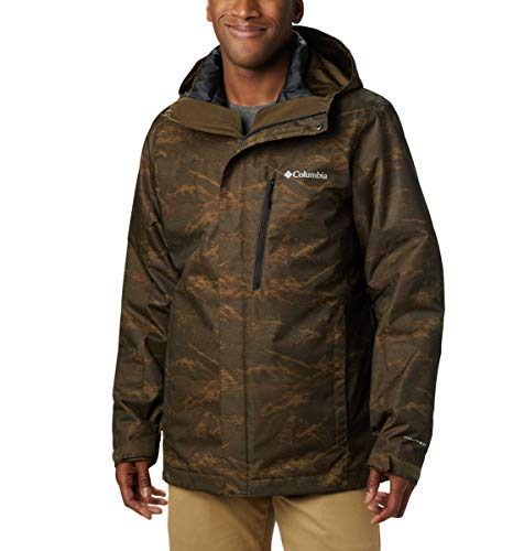 Columbia Men's Whirlibird Iv Interchange Jacket, 1X, Olive Green Mountains Jacquard Print -