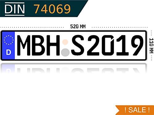 MBH-Shop KFZ Kennzeichen Autokennzeichen Wunschkennzeichen Nummernschild PKW Kennzeichen Fahrradträger Anhänger reflektierend individualisierbar (1 Klasse Anhänger)