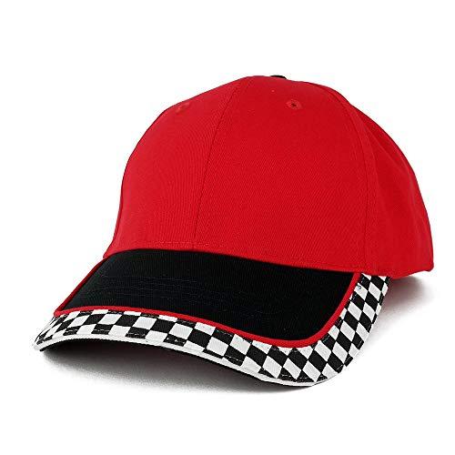 Armycrew MC Racing Flag Baseballkappe aus Strukturiertem Baumwoll-Twill - Rot - Einheitsgröße -
