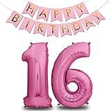 XXL Folien-Luftballons 16 Pink + Happy Birthday Girlande | Riesen Zahlen-Luftballons | 40' 101CM | Perfekte Geburtstagsdeko Rosa | Fliegt mit Helium