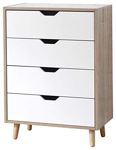 3-schubladen-breite Brust (Stockholm Retro Weiß Eiche Nachttisch Brust 1234Schublade oder 4Schublade breit, 4 Drawer wide)