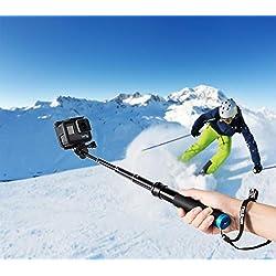 Coolwill Perche à Selfie étanche pour GoPro et Action Cam, poignée Flottante en Aluminium Inoxydable, idéal pour Surf, Ski, plongée, trépied pour GoPro Hero 6 5 4 Session et Autres caméras d'action
