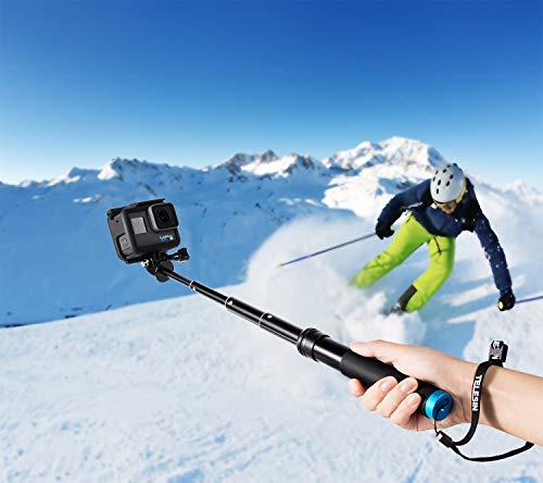 Coolwill Wasserdicht Selfie Stick für GoPro und Action Cam, Floating Griff aus rostfreiem Aluminium, ideal zum Surfen, Skifahren, Tauchen, Stativ für GoPro Hero 6 5 4 Session und andere Action-Kameras