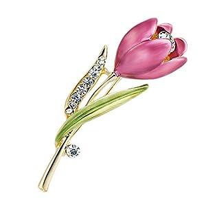 Aisoway Kristall-Tulpe-Blumen-Brosche Elegante Kostüm-Kleidung, die Zusätze (Light Purple)