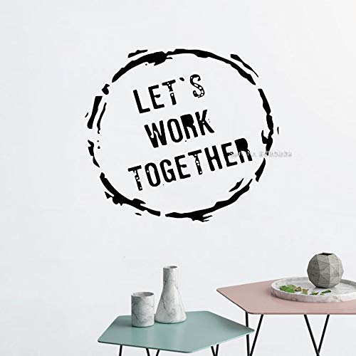 JJHR Wandtattoos Wandaufkleber Büro Wandkunst Dekor Abziehbilder Teamwork Zitat Büro Dekor Lassen Sie Uns Zusammenarbeiten Wandaufkleber Wandbilder 47 * 42Cm