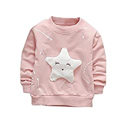LEXUPE Junge Mädchen Baby Outfits Kleidung InfantStar Gedruckte Baumwolle Lange Ärmel T-Shirt(Rosa,90)