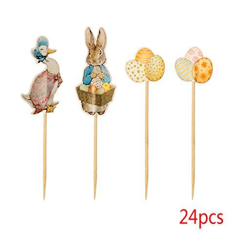 Chiic 24 Dekorationen für Kuchen, Ostereier & Hasen & Ente aus Papier, Dekoration für Geburtstag/Party/Hochzeit (Mikrowellen Oster)