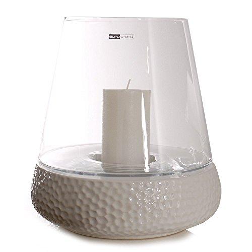 STODOMED Kaheku Windlicht Bilbao Keramik Modern Laterne Vase Kerzen Leuchter 3 Größen 4 Designs Auswahl Geschenk (S 20 cm, Weiß Gehämmert)